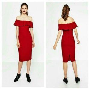 Strapless Midi Body Con Red Dress